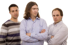 Three men. Three casual men white isolate Stock Photos