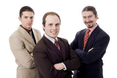 Three men. Three happy business men white isolate Royalty Free Stock Photography