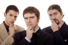 Three men. Three business young men white isolate portrait Royalty Free Stock Image
