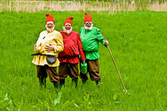 Three Men disguised as Garden Gnomes Stock Photography