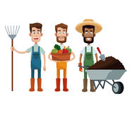 Three men farmer work image Stock Photography