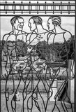 Three men in the fence - The Vigeland Park, Oslo Royalty Free Stock Images