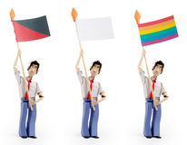 Set of men holding flag Royalty Free Stock Images