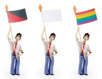 Set of men holding flag. Three men holding flags. Strike Flag, Blank flag, rainbow flag Royalty Free Stock Images