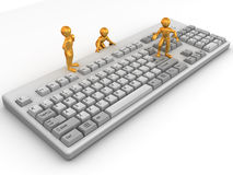 Three men on keyboard. 3d Royalty Free Stock Photos