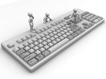 Three men on keyboard. 3d Very beautiful three-dimensional illustration Royalty Free Stock Image