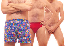 Three men. Man in pants, men in swimsuit and one naked man Stock Image