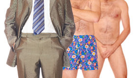 Three men. Man in suit, men in pants and naked one Royalty Free Stock Image