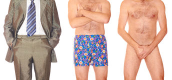 Three men. Man in suit, men in pants and naked one Royalty Free Stock Photography