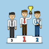 Three Men On Pedestal. Stock Photos