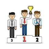 Three men on pedestal. Three places. Leader with golden cup, secon place with silver cup. Sad third contestant Stock Photography