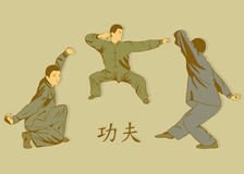 Three men represent Kung Fu. Stock Photography