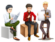 Three men sitting down while reading, talking and holding an emp. Illustration of the three men sitting down while reading, talking and holding an empty board on Royalty Free Stock Images