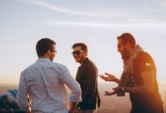 Three Men Standing While Laughing Royalty Free Stock Photo