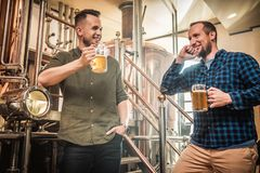 Three men tasting fresh beer in a brewery.  stock photography