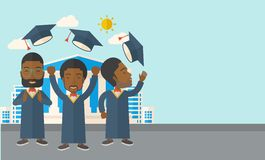 Three men throwing graduation cap Stock Photography