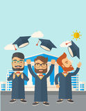 Three men throwing graduation cap. Royalty Free Stock Image