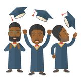 Three men throwing graduation cap Royalty Free Stock Images