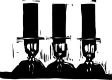 Three men in Top Hats Stock Photography