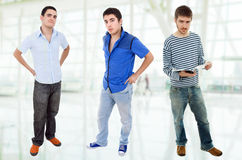 Three men. Three young casual men standing Stock Photography