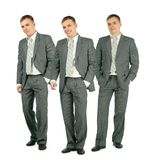 Three merry businessmen standing on white, collage Royalty Free Stock Image