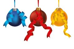 Three merry Christmas balls red/blue/yellow with ribbons. Banner. With copy space. Vector. Greeting card For a holiday or a party Royalty Free Stock Image