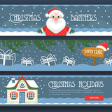 Three Merry Christmas isolated banners on a white background with gift boxes, Santa Klaus, Santas House  and snowflake. Stock Photos