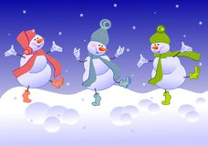 Three merry snowmen Stock Images