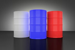 Three metal barrels with different colors Stock Photo
