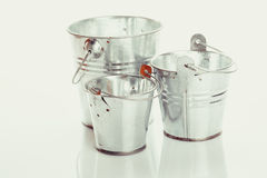 Three metal buckets Royalty Free Stock Photography