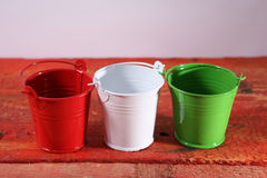Three metal buckets Royalty Free Stock Images