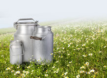 Three metal cans of milk Stock Image