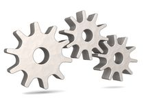 Three metal gears. An illustration of Three metal gears showing a machine equipment working in unison in a white  background Stock Photos