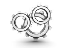 Three metal Gears on white background Stock Images