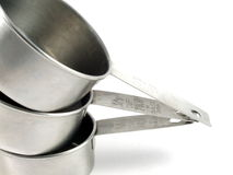 Three Metal Measuring Cups Stock Photos