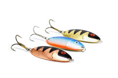 Three metal spoon lures Stock Images