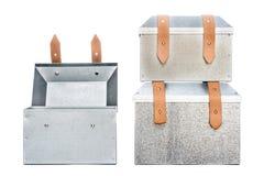 Three metal tool box on White Background. Studio Shot royalty free stock images