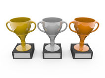 Three metal trophys Royalty Free Stock Image
