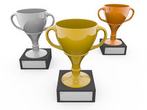 Three metal trophys Royalty Free Stock Photography