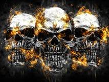 Three metal vampire skulls - burning fire. And flames royalty free illustration