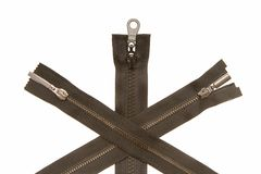 Three metal zippers Stock Photography