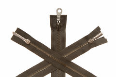 Three metal zippers royalty free stock images