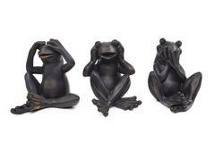 Three Metall Frogs Stock Photo