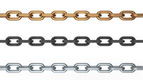 Three metallic chains Stock Photo