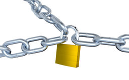 Three Metallic Chains Locked with a Padlock Stock Photography