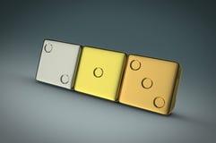 Three metallic dices Stock Photos