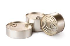 Three metallic goods can with key. On white Stock Photo