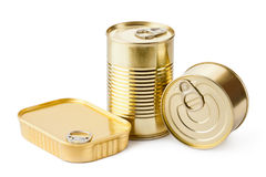 Three metallic goods can with key. Standing on a white Royalty Free Stock Photos