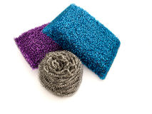 Three metallic kitchen sponges Stock Image