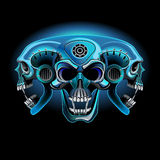 Three metallic skull in one. Three techno skull in one in the neon light Vector Illustration
